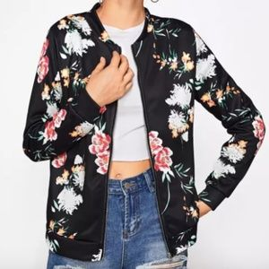 Jackets & Blazers - Tropical Floral Print Zip Up Bomber Jacket